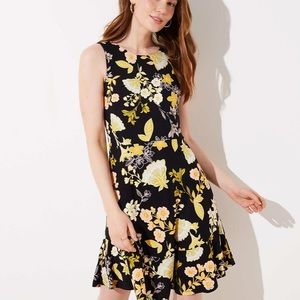 NWT LOFT Black Yellow Floral Fit & Flare Dress 14